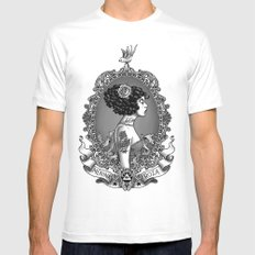 Menina Roza White Mens Fitted Tee SMALL