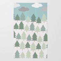 Pacific Northwest Tree and Rain Scene - Portland, PDX, Seattle, Washington, Oregon Rug