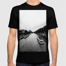 The Seine  Black SMALL Mens Fitted Tee