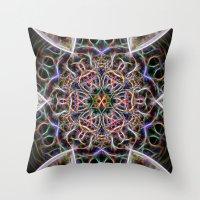 Abstract textured mandala Throw Pillow