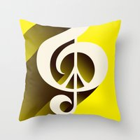 Yellow Retro Shadow Musi… Throw Pillow