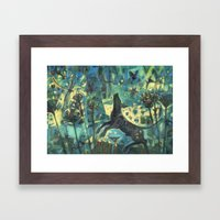 Dog In The Garden. Framed Art Print