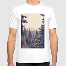 Mountains Through The Tr… Mens Fitted Tee White SMALL