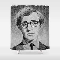 Woody Allen portrait  Shower Curtain