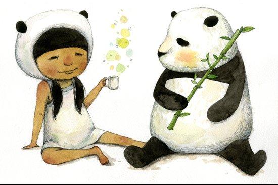 Tea Time with Panda  Canvas Print