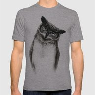 Owl Sketch Mens Fitted Tee Athletic Grey SMALL