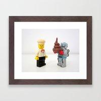 Lego cook & robot misunderstanding Framed Art Print