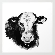 Black And White Cow  Art Print