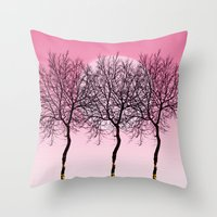 Triplet Trees In Pink Throw Pillow