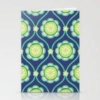 Citrus Flowers Blue Stationery Cards