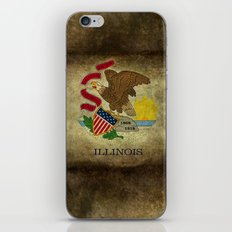 Illinois State flag, vintage on parchment paper iPhone & iPod Skin