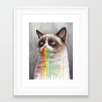 Cat Tastes the Grumpy Rainbow | Watercolor Painting Framed Art Print