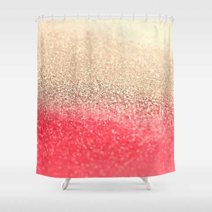 GOLD CORAL Shower Curtain By Monika Strigel
