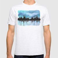 Turquoise London Skyline 2 Mens Fitted Tee Ash Grey SMALL