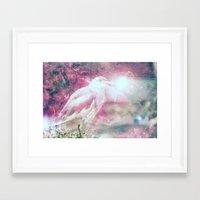 Galaxy space bird Framed Art Print