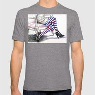 Seated Stripes Mens Fitted Tee Tri-Grey SMALL