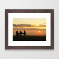 Sunrise on a foggy Battlefield Framed Art Print