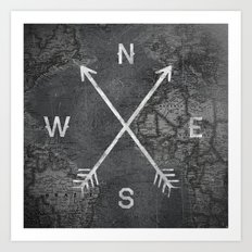 Compass (Map) Art Print