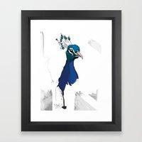 Peacock Head Framed Art Print