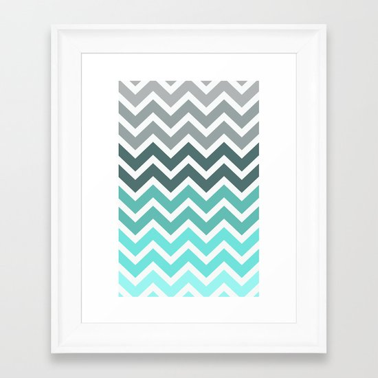 Tiffany Fade Chevron Pattern Framed Art Print