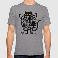 Beware The Walking Cat Mens Fitted Tee Athletic Grey SMALL