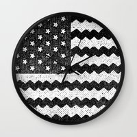 Black Zig Zag Flag Wall Clock