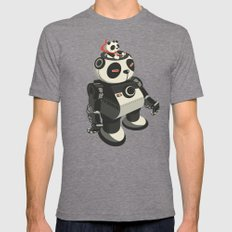 Mecha-Panda Mens Fitted Tee Tri-Grey SMALL