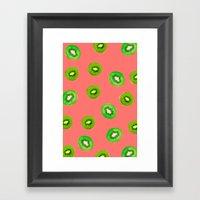 pink kiwi Framed Art Print