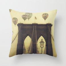 Balloons Over the Bridge Throw Pillow