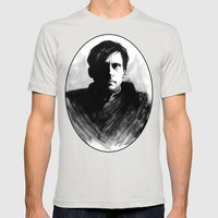 DARK COMEDIANS: Steve Carell Mens Fitted Tee Silver SMALL