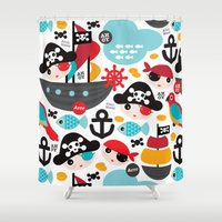 Cute kids pirate ship and parrot illustration pattern Shower Curtain