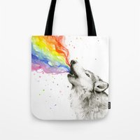 Wolf Rainbow Watercolor Howling Tote Bag