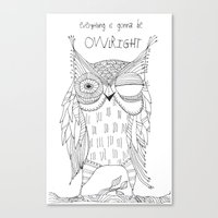 everything is gonna be owlright Canvas Print