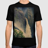 Barron Falls in retro style Mens Fitted Tee Black SMALL