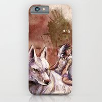 Miyazaki's Mononoke Hime - San and the Wolf TraDigital Painting iPhone 6 Slim Case