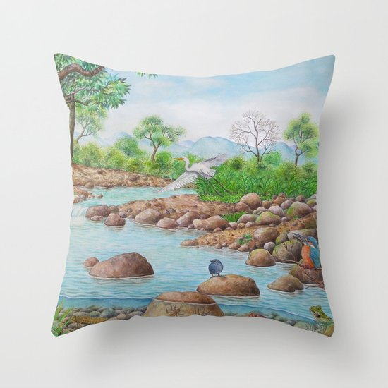 A Day of Forest(7). (the river ecosystem) Throw Pillow