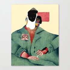 Seated Figure with Pin and Flag Canvas Print