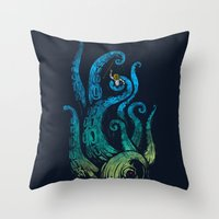 Undersea Attack (neon Ve… Throw Pillow