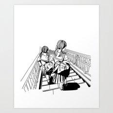 Japanese School Girls  Art Print