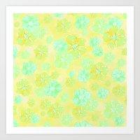Blossoms Retro Citrus Art Print