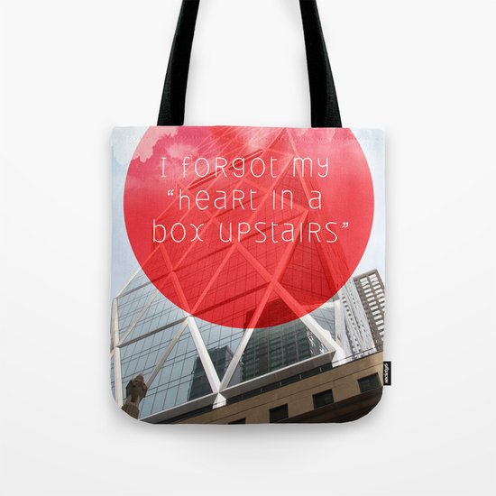 heart in a box upstairs Tote Bag