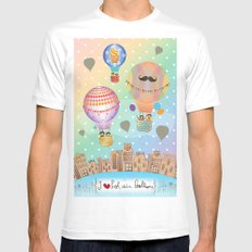 I {❤} Hot Air Balloon Mens Fitted Tee White SMALL