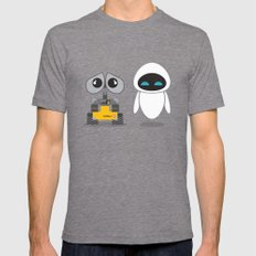 Wall-E and Eve Mens Fitted Tee Tri-Grey SMALL