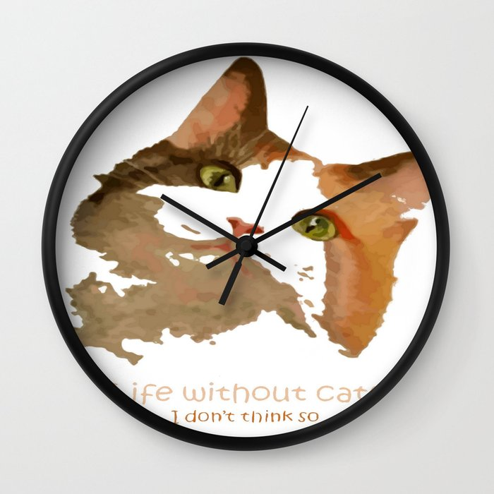 life without cats wall clock by taiche society6