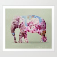 Cherry blossom Elephant Art Print