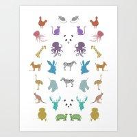 Glitter Animals B Art Print