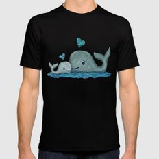 Whale Mom and Baby with Hearts Black Mens Fitted Tee SMALL