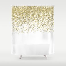 Sparkling golden glitter confetti on white I Shower Curtain
