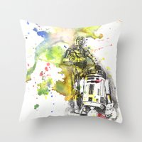 C3PO and R2D2 from Star Wars Throw Pillow