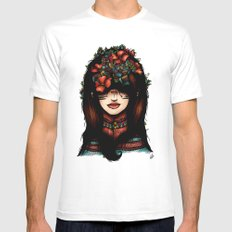 The girl who was thinking about geometry & red flowers White Mens Fitted Tee SMALL